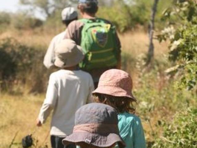 Walking with a guide in the Okavango Delta, Botswana