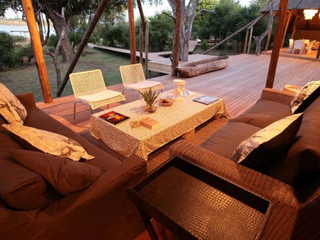 Victoria Falls River Lodge, main lounge and deck, Victoria Falls package