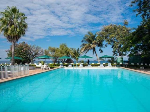 Sunbird Livingstonia Beach Hotel pool, Lake Malawi, Malawi and Zambia