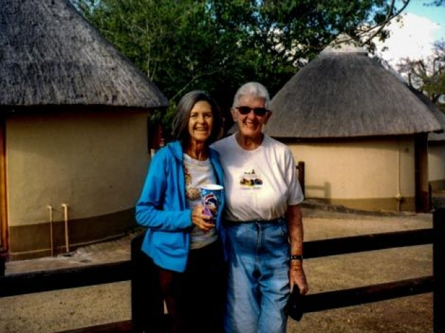 Jeanette and Joan in front of Pretoriuskop Bungalows, Kruger National Park