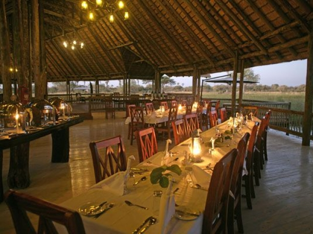 Pom Pom Camp, dining overlooking the Delta, Botswana and Zimbabwe