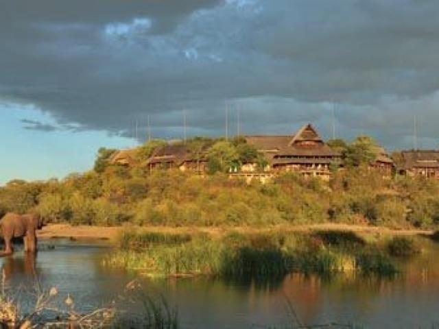Victoria Falls Safari Lodge, Botswana and Zimbabwe, view over the waterhole