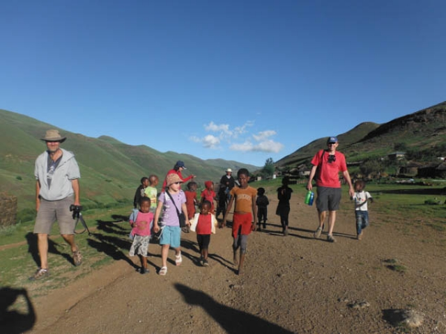 Hanging out with the local kids, eastern Lesotho