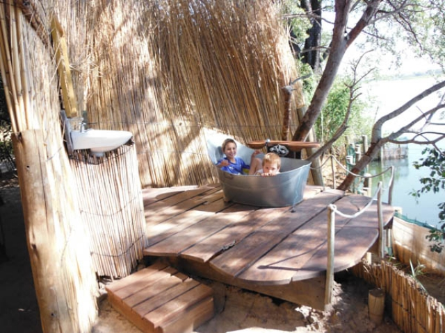 Funky fun accommodation - a bath with a view, Ngepi, Caprivi Strip, Namibia