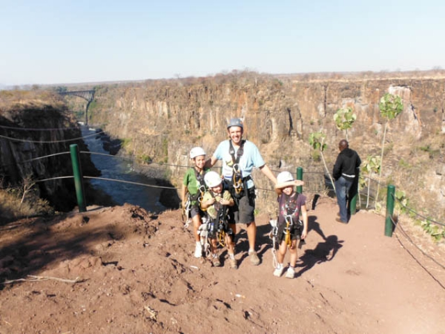 Ready for the Canopy Tour, Victoria Falls Chobe family holiday