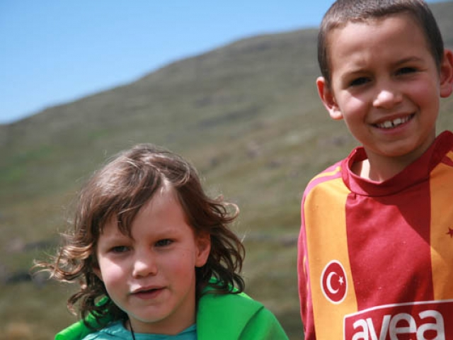 Rhian and Kai in Lesotho