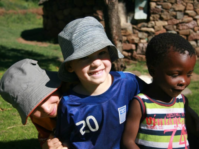 Kai and Cadan enjoying making new friends in Eastern Lesotho.