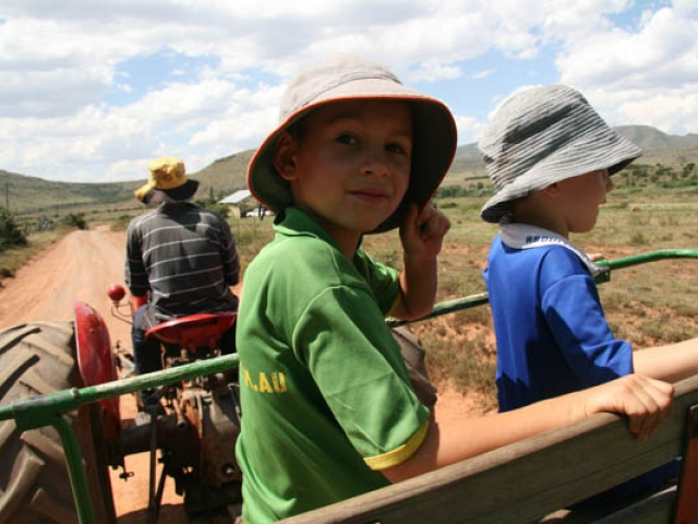 Tractor ride in the Little Karoo, South Africa