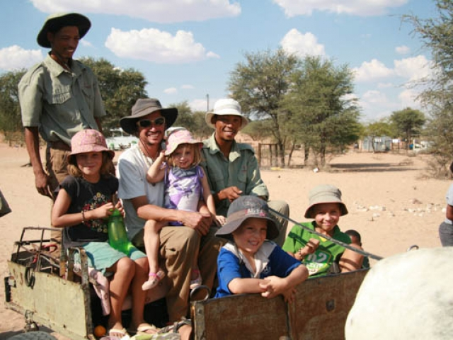 Going on a donkey rise with Dirk and Corne from the #Khomani San Bushman's Council, Kalahari, South Africa