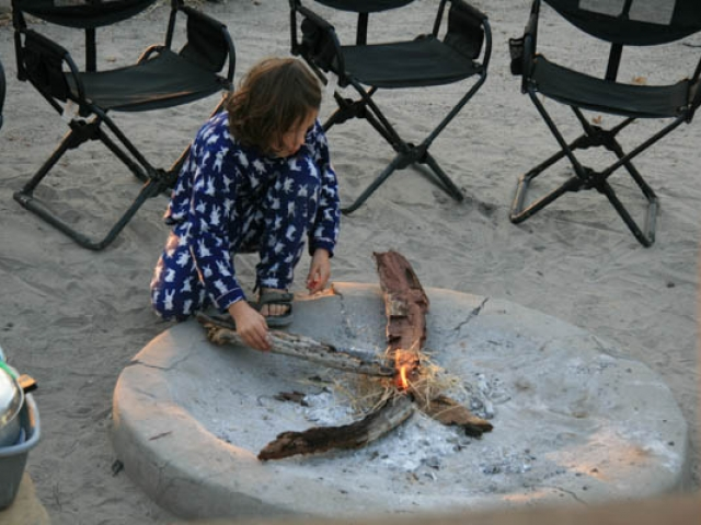 Thanks Rhian - starting our morning fire, Planet Baobab, Botswana