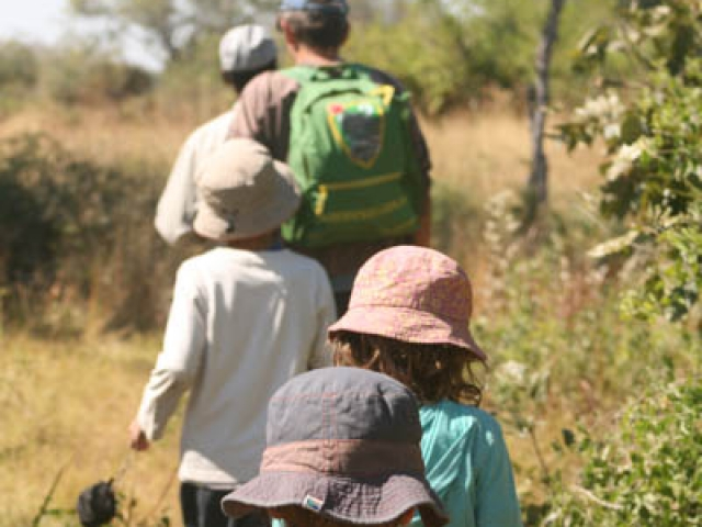 Walking with our guide in the Okavango Delta, Botswana