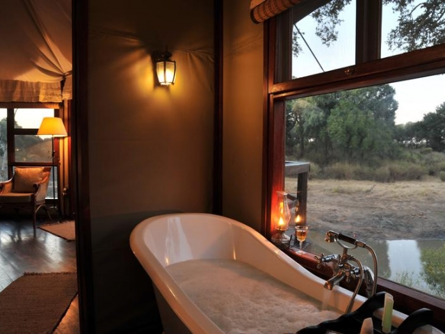 Hamiltons Tented Safari Camp, Kruger National Park, bath with a view, Kruger luxury safaris