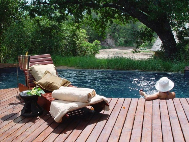Rhino Post Safari Lodge, pool terrace, Kruger luxury safaris