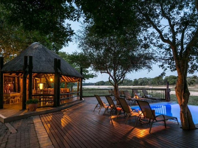 Umkumbe Safari Lodge, Kruger, deck overlooking the Sand River, Kruger luxury safaris