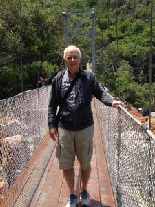 John on the suspension bridge at Storms River mouth, Tsitsikama Forest