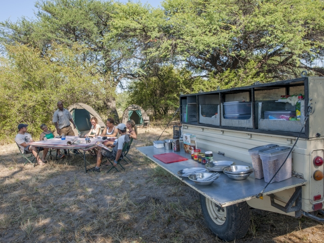 Trailer kitchen - guided safari Botswana