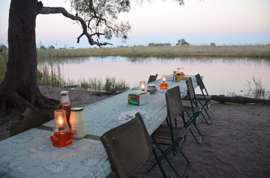 Dinner in Moremi, Highlights of Botswana