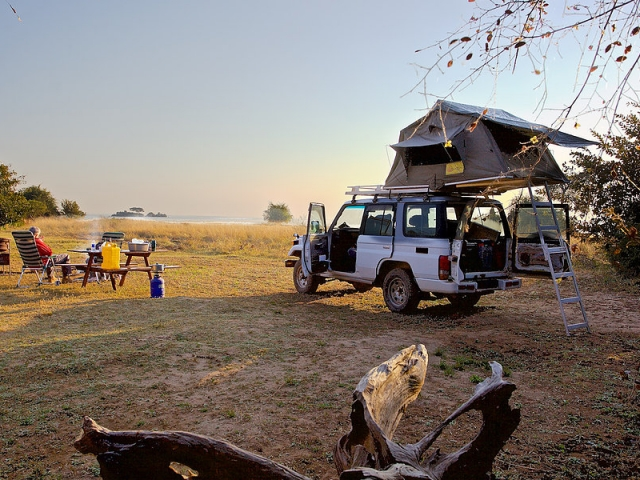 Campsites right on the lake - Hippo Bay, Kafue National Park