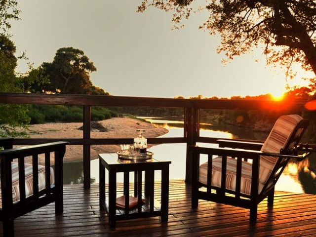 Hamiltons Tented Safari Camp, Kruger National Park, terrace overlooking the river, Kruger luxury safaris