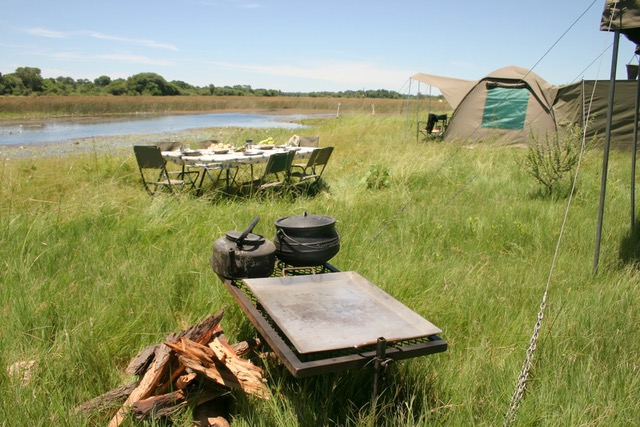 Essential Botswana, private campsite along the Khwai River
