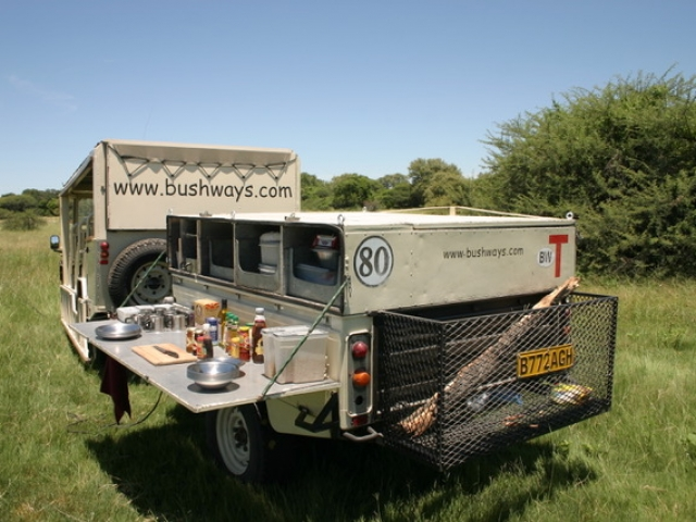 Essential Botswana, safari vehicle and fully equipped trailer