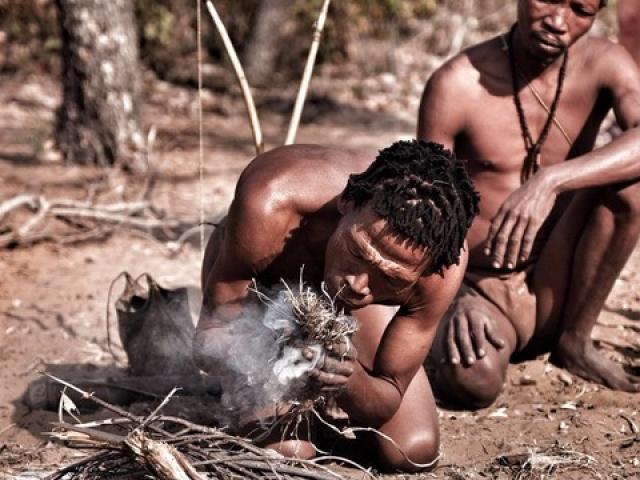 San bushman fire making.