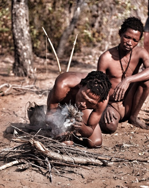 San bushman fire making.