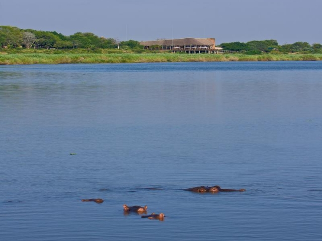 Family Holiday South Africa - Lower Sabie Restcamp from the river