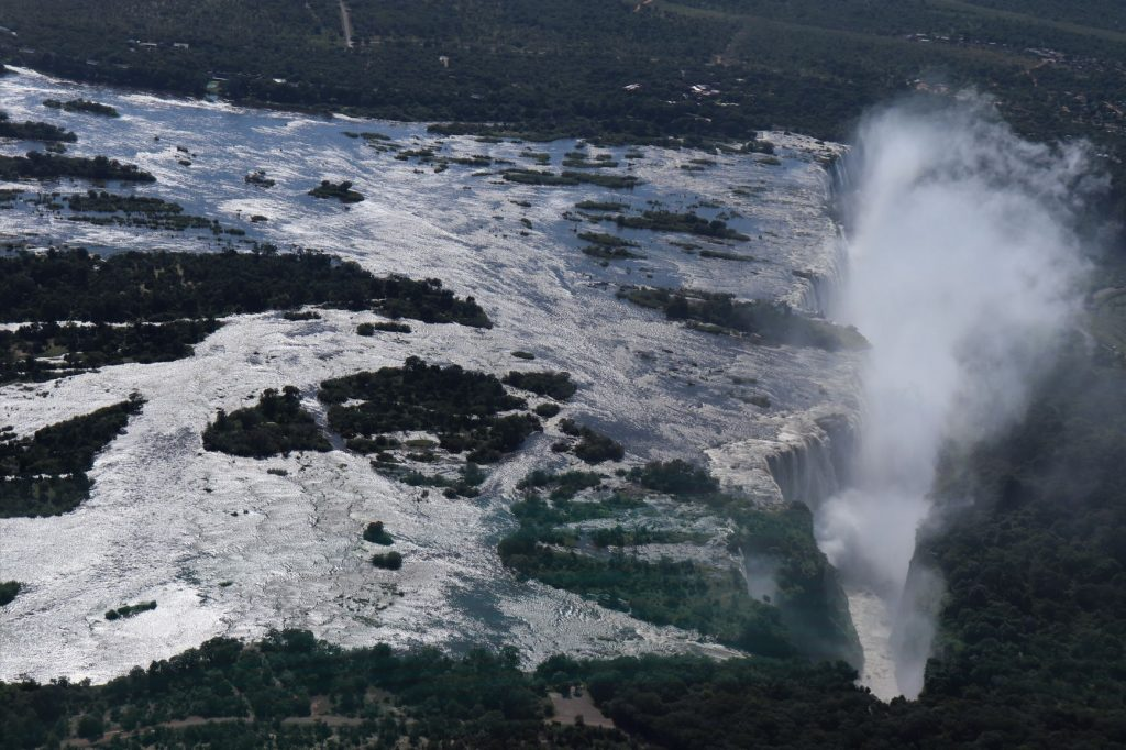 Victoria Falls plunging over the gorge, Flight of Angels