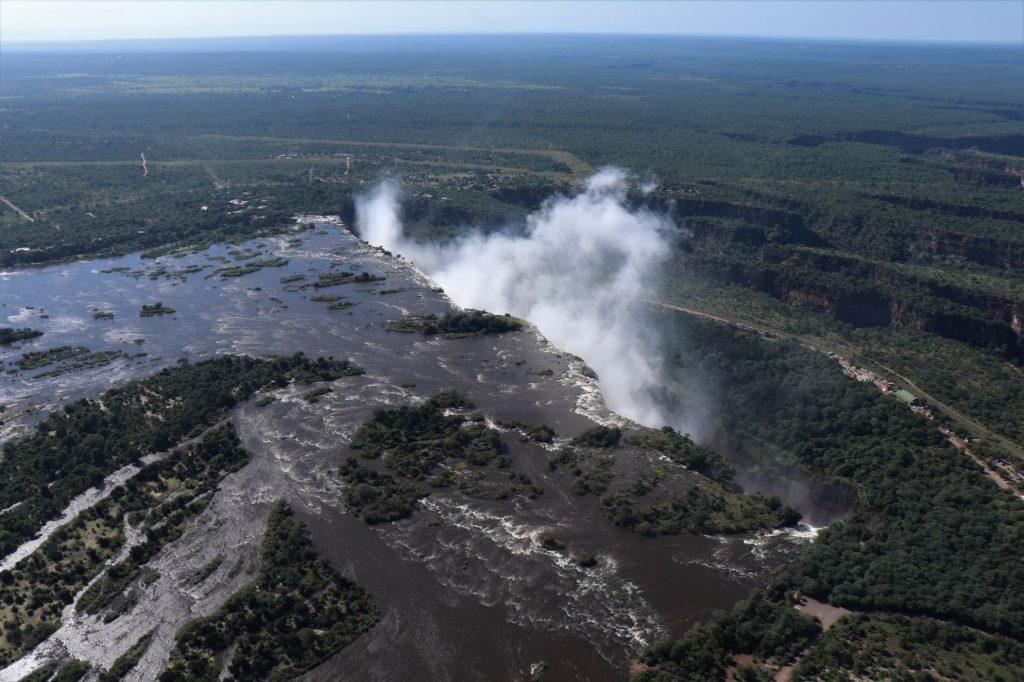 Zambezi River and Victoria Falls, helicopter flight
