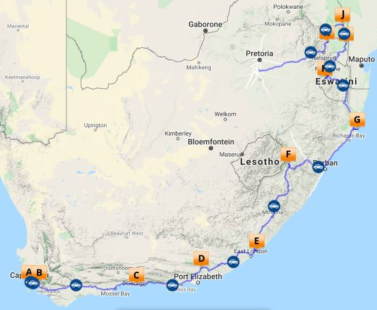 Classic South Africa self drive map