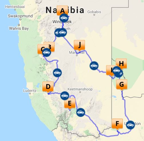 South Africa and Namibia Self Drive map