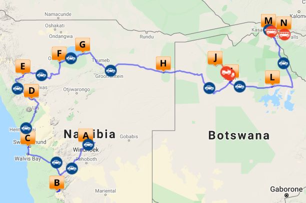 Self-drive Namibia Botswana Zimbabwe