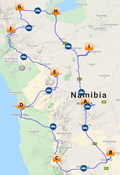 Self drive classic Namibia map