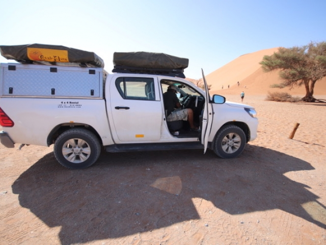 Fully equipped camping 4x4 vehicle - game viewing, Sossusvlei, Namibia.
