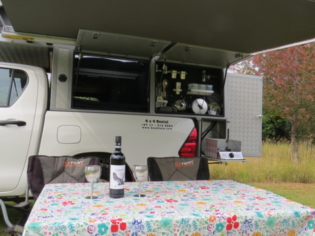 Bushcamper fully equipped camping 4x4 vehicle - built in kitchen and gas stove.